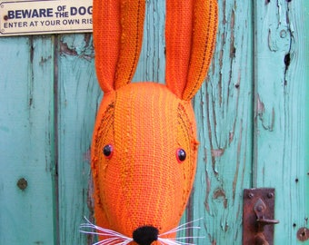 Fab funky retro, upcycled Fabric Trophy head. wall hanging. Fake Taxidermy, stuffed head, Faux Taxidermy. Rabbit, hare head.