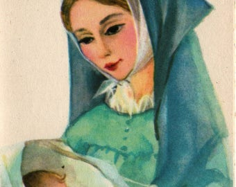 Virgin Mary with Baby Jesus + Vintage Christmas Card