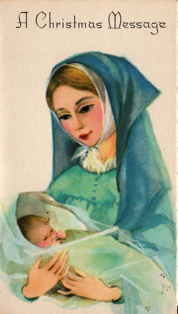 Virgin Mary with Baby Jesus - Vintage Christmas Card