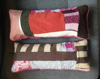 TWO Small Patchwork Lumbar Pillows