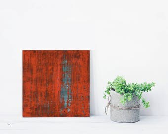 "ORIGINAL Abstract Painting ""Coquelicot"" by Lisa Carney, Textured Acrylic, Modern Abstract Art, Minimalist, Reductive, Small, Orange, green"