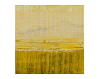 "ORIGINAL Abstract Painting on Wood 12x12"" Minimalist Landscape Art, GeoHorizon 71 by Lisa Carney, Yellow, modern drip art, colorfield"