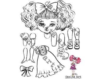 The cat lover cut-out paper doll printable template by Danita (Digital Download)
