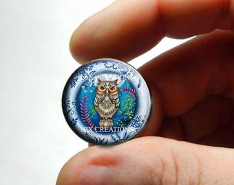 Retro Glass Owl Cabochon for Jewelry and Pendant Making - Design O6