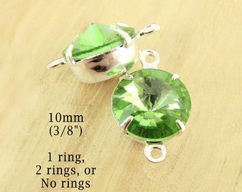 Peridot Green Glass Beads - 10mm Round Rivoli Jewels - Brass or Silver Prong Settings - Rhinestone Glass Gems - One Pair