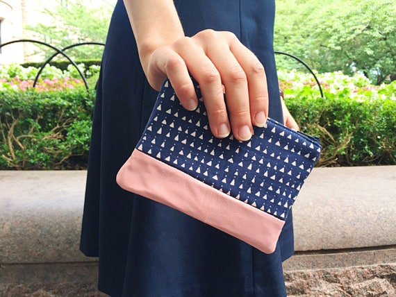 Triangles Navy Blue Leather Pouch, Coin Purse, Change Purse, Women's Small Wallet