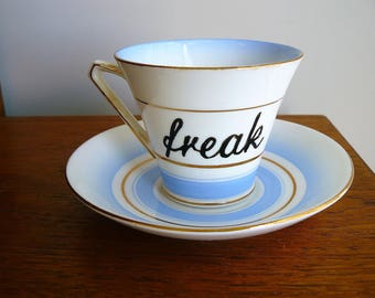 Freak hand painted vintage bone china teacup and saucer set  recycled one of a kind freaky decor tea party blue stripes