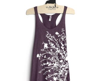 Small- Vintage Purple Racerback Tank with Flowering Branches Screen Print