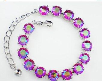 SUMMER SALE Raspberry Pink Rhinestone Bracelet Fuchsia Glacier Blue Swarovski Wedding Jewelry Bridesmaid Jewelry