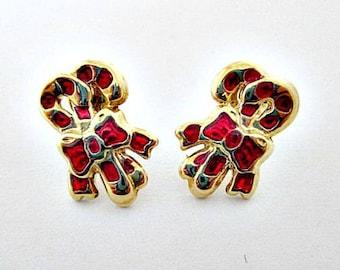 Candy Cane Stud Pierced Earrings - Vintage Holiday Christmas Earrings - Stud Earrings - Candy Cane Jewelry - Holiday Earrings Jewelry Gift