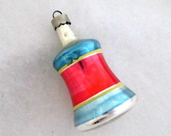 Bell Glass Ornament  - Vintage Bell Ornament - 1950's Christmas Ornament - Vintage Christmas Decor - Made in USA