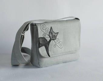 Gray  linen messenger, leather cat applique, small purse, black cat bag, linen purse, handbag