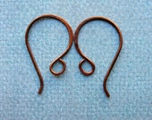 Antiqued Copper Hammered Ear Wires - 1 pair - 23mm - 20 gauge