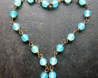 Aqua Agate Antiqued Brass Bead Chain - 2 Segments - 5 inches in length