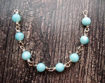 Faceted Amazonite Antiqued Sterling Bead Chain Segment  - 1 piece - 4.5 inches in length