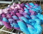 Handdyed bamboo yarn, pink purple blue hand dyed DK yarn, Double knitting wool light worsted crochet yarn, Perran Yarns Berry Burst, uk