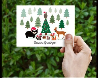 40% off Printable Christmas Card Woodland Holidays with Forest Animals, DIY, Print Your Self