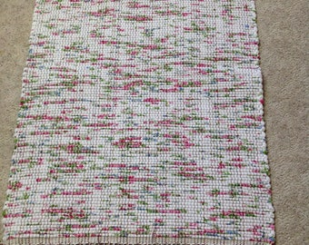 Rag Rug reuse cotton flannel sheet 30 inches long by 27 inches wide handcrafted home decor