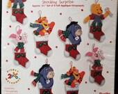 Pooh Stocking Surprise felt appliqué ornaments kit