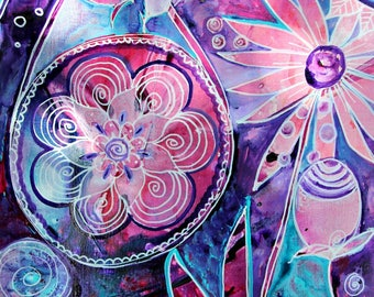 Original Intuitive Painting Boho Decor Pink Mandala Whimsy by Carol Iyer
