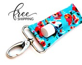 LippyClip™ Lip Balm Holder for Chapstick, Burt's Bees, etc. |  Clip-On Keychain | Teal Floral