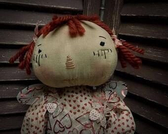 MUSTARD SEED ORIGINALS, Extremely Primitive, Very Primitive, Valentine, Love, Heart, Raggedy Doll by Primitive Folk Artist Sharon Stevens.