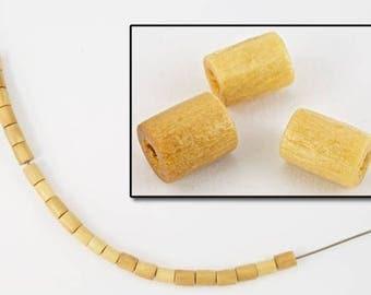 4mm x 5mm Natural Wood Barrel Bead (50 Pcs) #5690