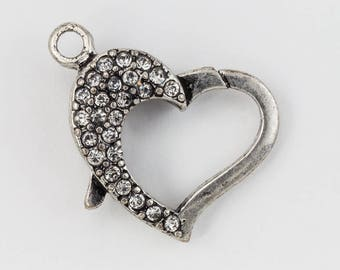 22mm x 16.5mm Antique Silver Pavé Crystal Heart Clasp #CLC170