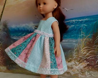 """14 and 14.5"""" Doll Dress Romantic Tiny Florals in Pastel Green and Pink Tones OOAK Fits dolls like H4H and Wellie Wishers"""