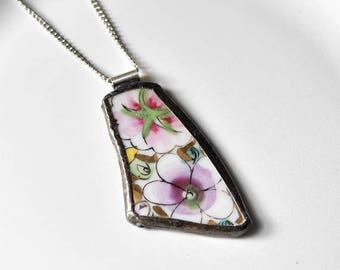SUMMER SALE Broken China Jewelry Pendant - Purple and Pink Floral
