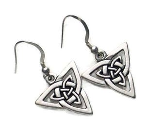 Celtic Knotwork Triangle Trinity Dangle Earrings Fine Silver Plated Pewter Sterling Silver Earwires