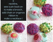 Green purple aqua  sequinned embroidered fabric buttons,  1 7/8 inches, 4.7 cm, 48.26 mm, size 75 buttons, 3 sets