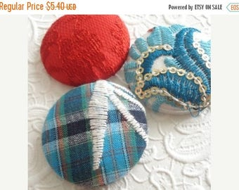 CLEARANCE - Red buttons, fabric buttons, stripe button, size 60 buttons, embroidered buttons,  blue buttons, set of 3 buttons