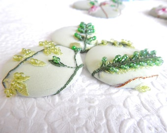 3 pale green floral beaded embroidered fabric buttons, 1.9 inches, 4.7 cm, 48.26 mm, size 75 buttons