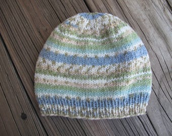 Baby Hat / Beanie Hand-Knitted in Self-Striping Soft Acrylic Cotton Blend (three to six months size)