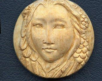 Polymer  Clay Gold Highlighted Art Nouveau Goddess Cab  GCR 1