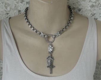 Rosary Necklace, choker, sterling marcasite cross, vintage paste, rhinestone, repurposed, 1950s, religious medal, Madonna, book chain, ooak