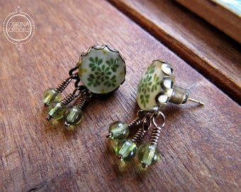 Mexican folk art earrings, Mexican tile design, Mexican Jewelry, Talavera tile design, green earrings, Studs, Posts