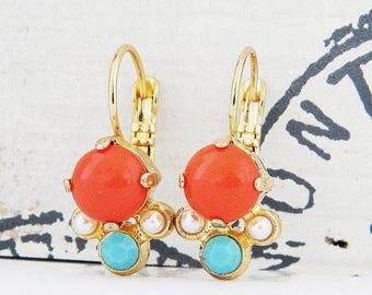 SALE Orange Coral Turquiose Pearl Gold Leverback Earrings