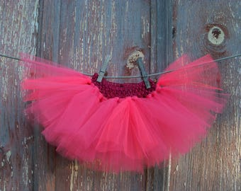 Size Newborn to 2T Baby or Small Dog Red Coral Tutu Ballerina Halloween Costume