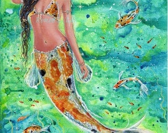 open edition aceo trading card print fantasy koi fish blossom mermaid 2.5x3.5 inches by renee