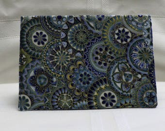 Checkbook Cover Cotton Fabric Top Stub Blues Greens Gold Circle Design