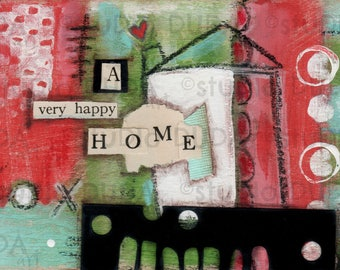 Original Folk Art Painting on Wood -A Very Happy Home - Free Shipping