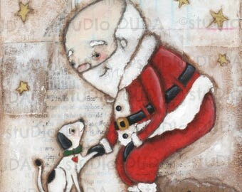 Print of my Original Inspirational Motivational Whimsical Mixed Media Santa Painting -The Best Gift