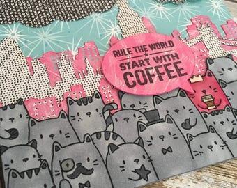 Rule the World Start with Coffee handmade blank card