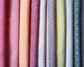 Edo Komon, Small Pattern Vintage Kimono Silk Fabric, Scrap Silk Textile Set of 10, Japanese Craft Supply