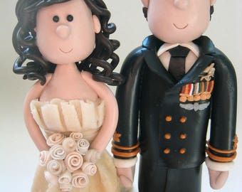 Military Wedding and Mounty Cake Topper- Custom Made Bride and Groom in Army, Navy, Air Force, RCMP, Marine or  White Dress Uniforms
