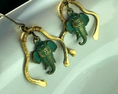 Elephant earrings, handmade earrings, green earrings, metal earrings, gold earrings, earrings for women, Christmas gift ideas for her