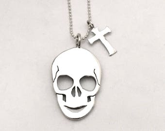 Skull & Cross Dollar Dime Necklace 2 Vintage American Silver Liberty Coins