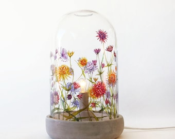 Glass Cloche Lamp - Wild Flowers Collection